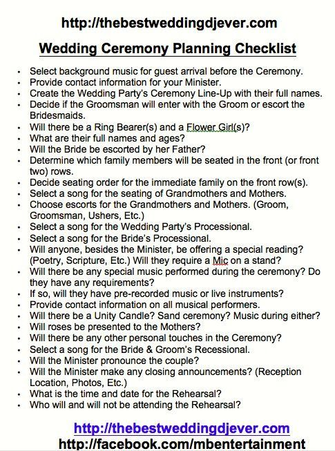 ceremony planning sheet checklist this covers everything need the