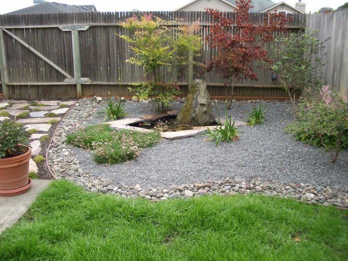 gartengestaltung mit kies beet steine hlzerner gartenzaun - Gartengestaltung Mit Kies Bilder