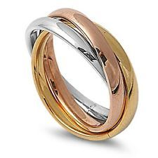 Stainless Steel 316L Ring Three tones Trio Bands Women Sizes 4,5,6,7,8,9,10,11