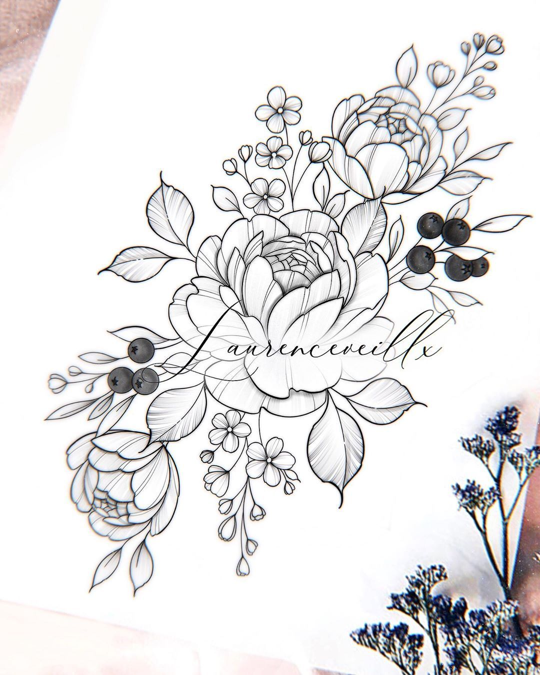 """, Laurence   Artist 💫 on Instagram: """"♡Floral design SOLD – NOT available♡ ⠀⠀⠀⠀⠀⠀⠀⠀⠀ You can buy my drawing on my etsy shop🍂💜 ⠀⠀⠀⠀⠀⠀⠀⠀⠀ The purchase gives you permission to get…"""", My Tattoo Blog 2020, My Tattoo Blog 2020"""