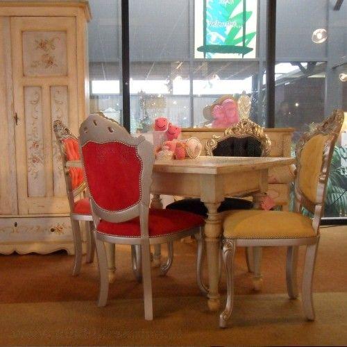 Barok eetstoelen met antiek zilveren frames en for Barok eetstoelen