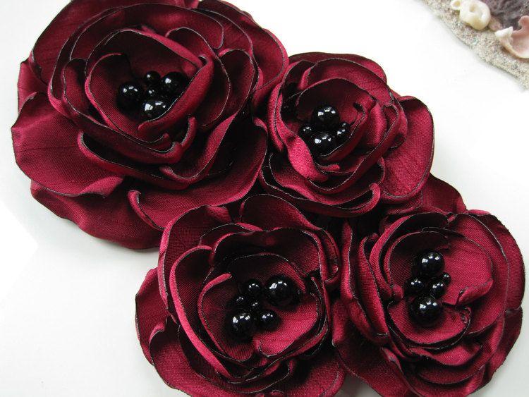 broche de flor de tela cuatro pin ramillete por MariaLouiseHightoo
