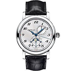 2595b56ceff Amazon.com  Montblanc Star Twin Moonphase Automatic Silver Dial Black  Leather Mens Watch 110642  Watches