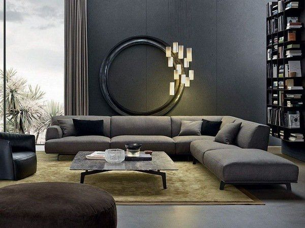 Living Room Furnishings And Design Beauteous Gray Corner Sofa Modern Living Room Interior Design Gray Wall Design Ideas