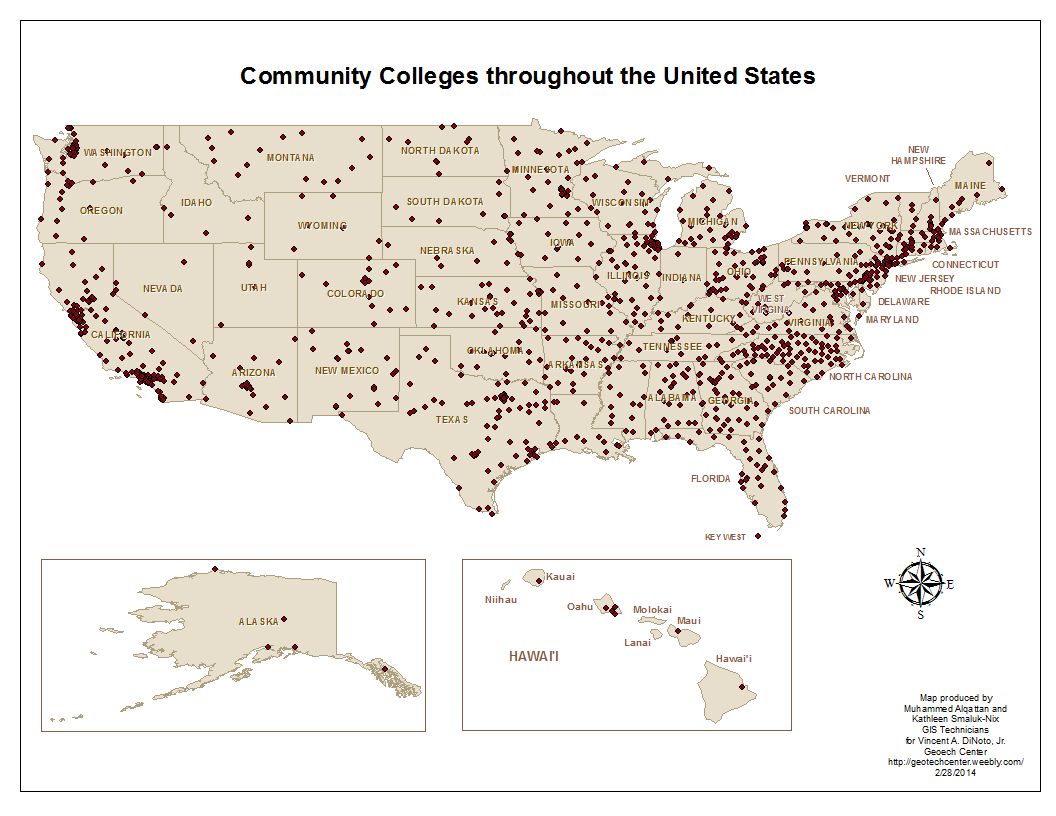Map of the locations of Community and Technical Colleges in the ...