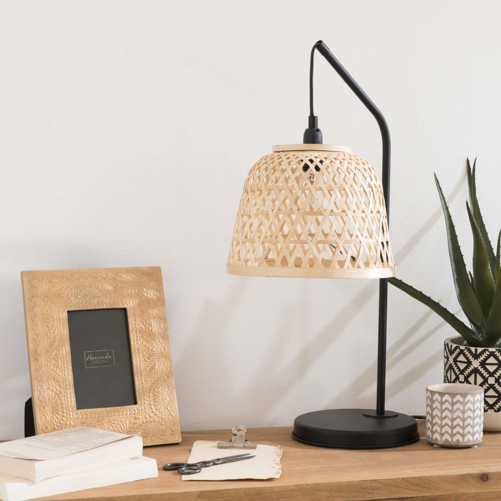 Black Metal Lamp With Rattan Shade Maisons Du Monde Lampe De Chevet Bois Abat Jour Rotin Deco Chambre Parental