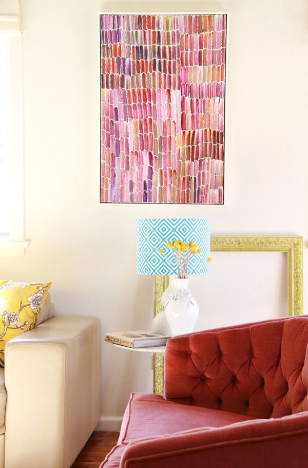 Bright living room art, patterned shade | Interior Crushes ...