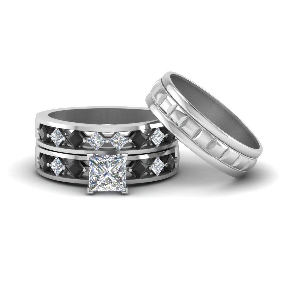 Trio Diamond Wedding Ring Sets For Him And Her In 2018 Wedding