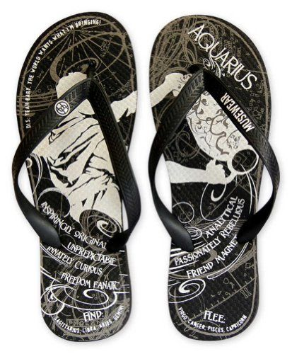 27a1fdc2784905 Musewear Adult Aquarius Zodiac Flip FlopsExtra LargeBlack     For more  information