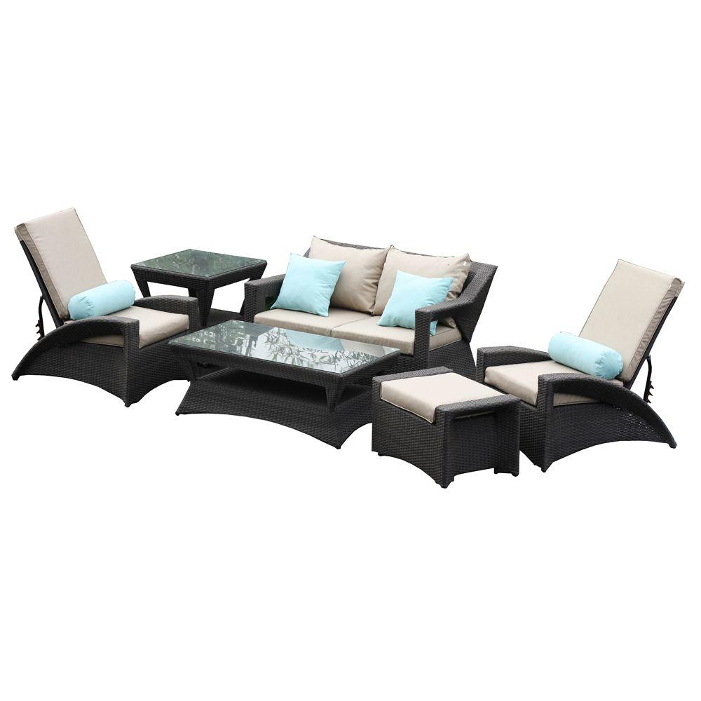 Buy jamaica 6pc pe wicker outdoor sofa lounge setting brown online