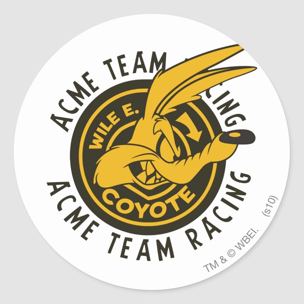 Wile E Coyote Acme Team Racing Classic Round Sticker Zazzle Com Round Stickers Coyote Custom Stickers [ 1024 x 1024 Pixel ]