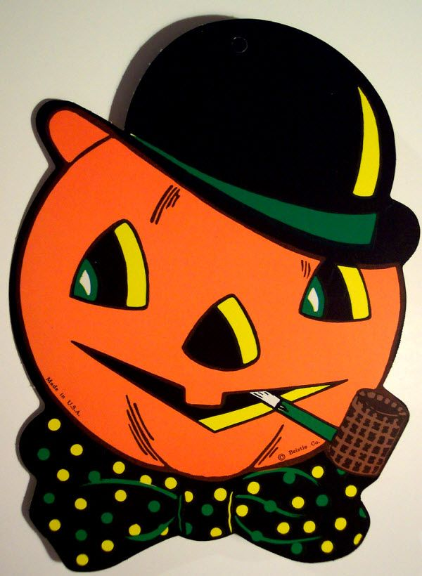 Jack-o-lantern with pipe and bowler derby - (Vintage Beistle ...