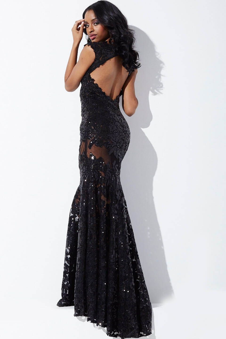 Lace cap sleeve sheath prom dress jovani midnight by jandrewus