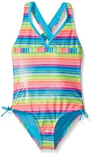 4 Angel Beach Little Girls One-Piece Green and Pink Foil Print Swimsuit