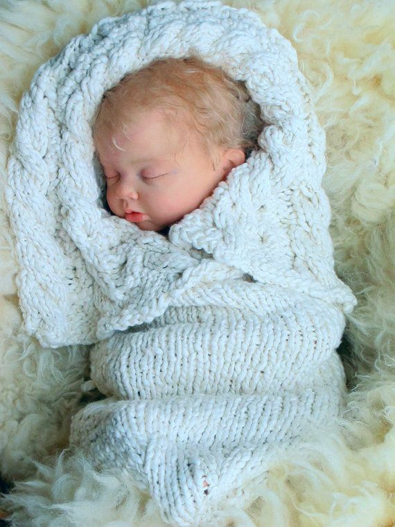 Baby Knitting Pattern Heirloom Organic Cabled Bunting Newborn