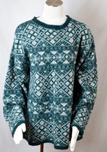Ll Bean XLarge Sweater Green Wool Blend Winter Warm | eBay