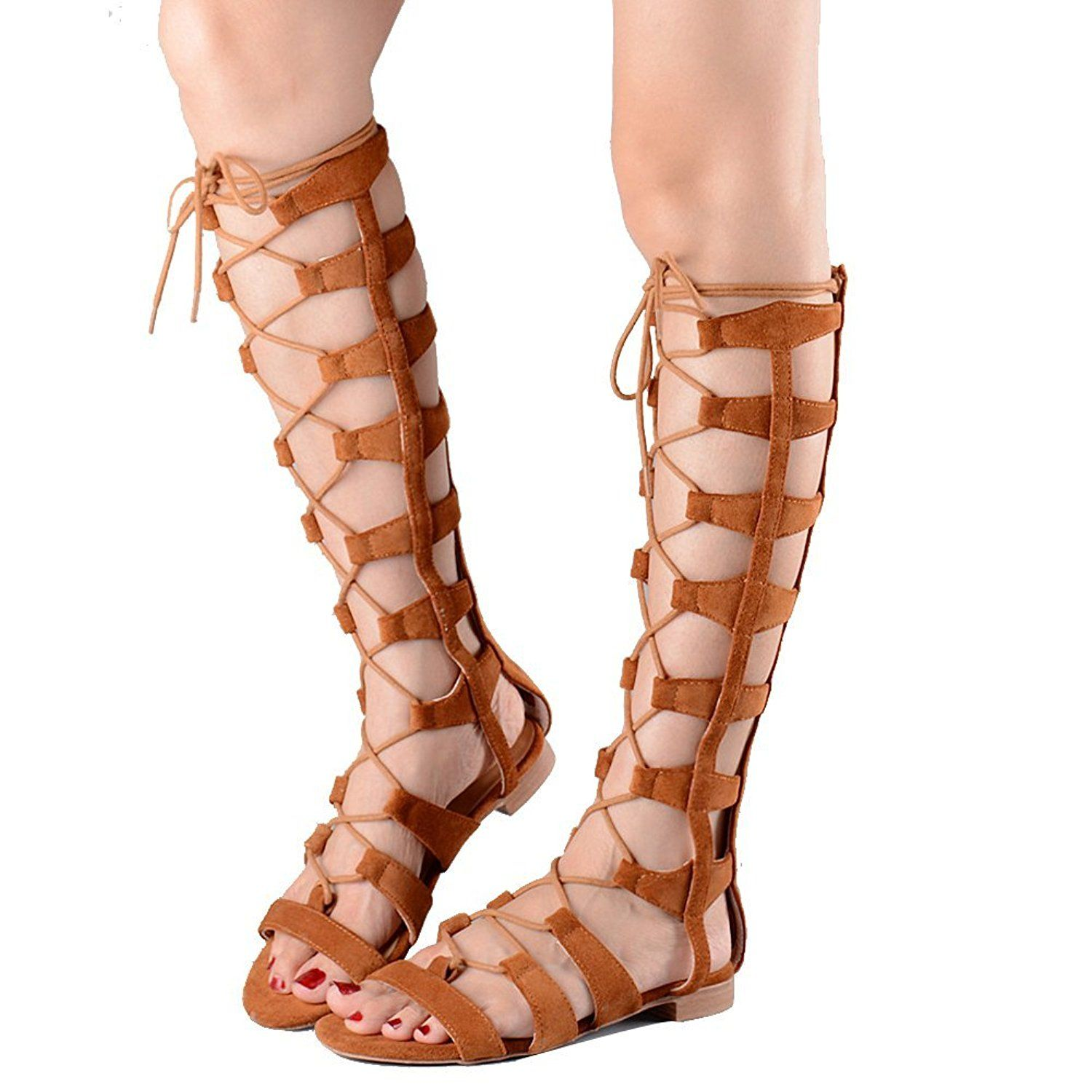 Womens sandals that zip up the back - Vivikiki Women S Open Toe Lace Up Gladiator Knee High Back Zip Flat Sandals Save