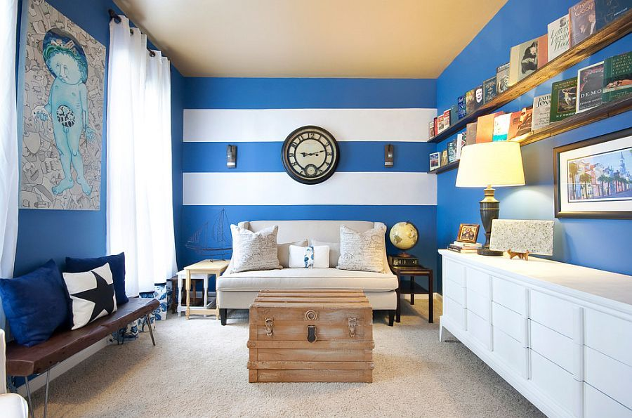 15 Fabulous Living Rooms With Striped Accent Walls Striped Walls
