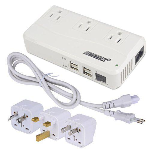 BESTEK Universal Travel Adapter 220V to 110V Voltage Converter with 6A 4-Port US