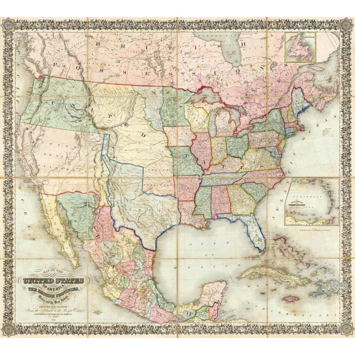 Vintage Map Of The United States 1848 All American United