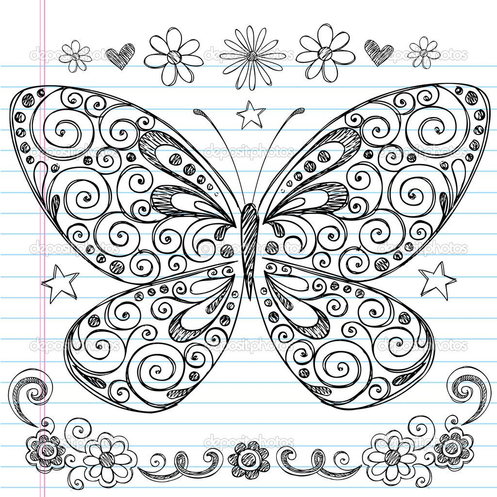 Easy doodle designs sketchy hand drawn butterfly for How to draw doodles