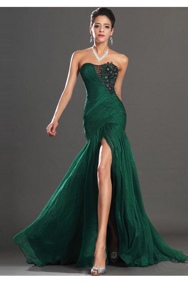 e4f6595321a zelené společenské šaty s rozparkem a krajkou - plesové šaty ...