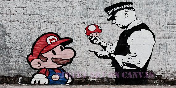 Mario and Cop Banksy canvas Street Art Graffiti premium 20 x 40 inch print