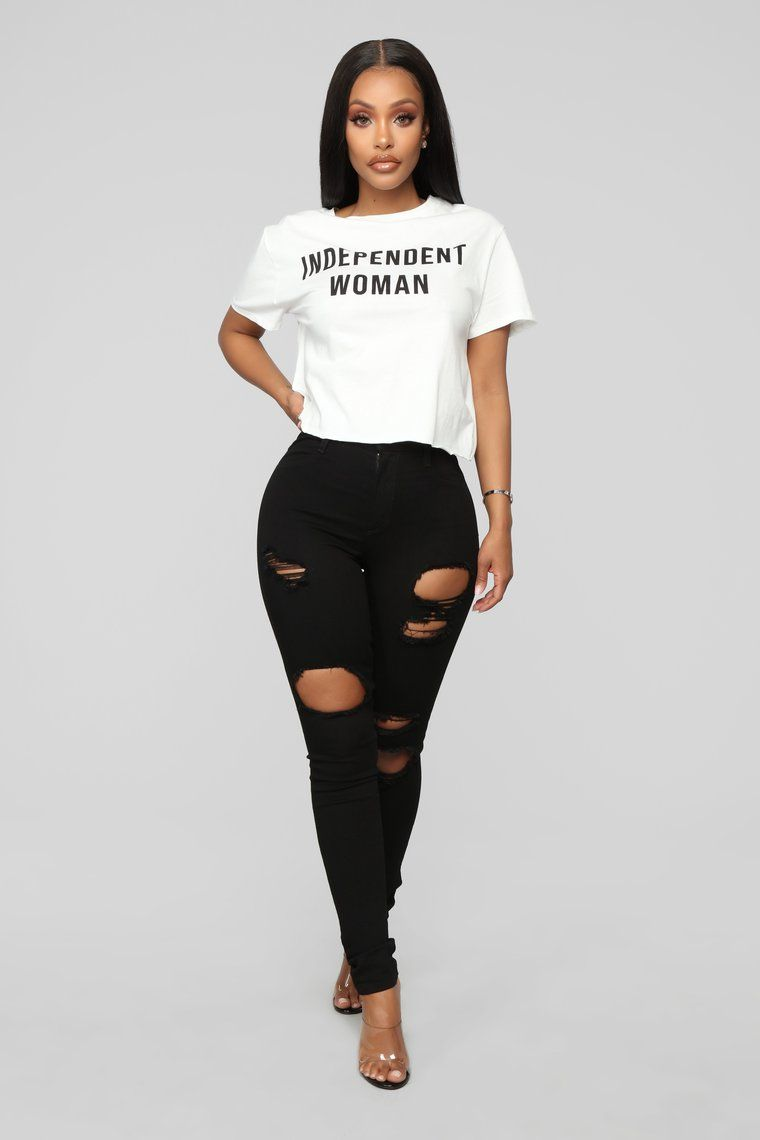 Independent Woman Top White In 2020 Shirts Women Fashion Fashion Nova Shirts Adidas Shirt Women