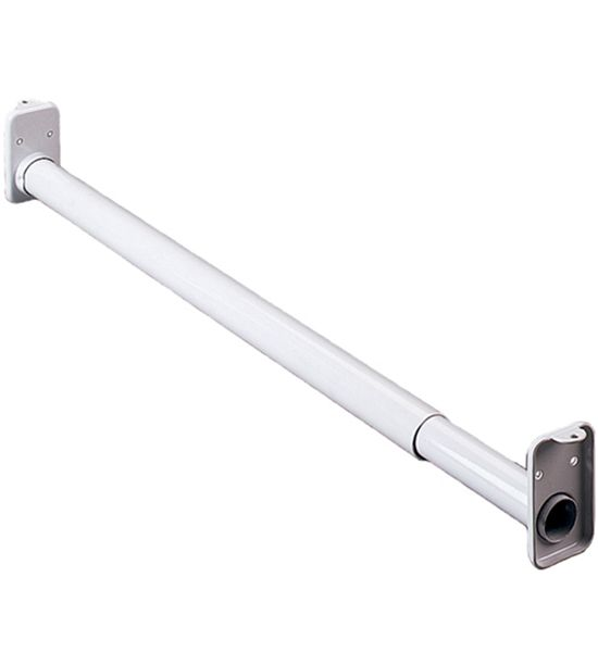 This White Adjustable Closet Rod Makes It Easy To Add Hanging Space To Any Closet In Your Home Or Office Closet Rod Closet Rods Metal Shelf Brackets