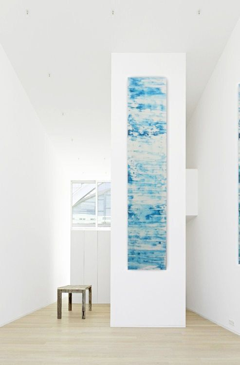 Original Abstract Painting Teal Blue White Wall Art Long Narrow Large Big Minimalist Contemp White Wall Art Abstract Canvas Painting Original Abstract Painting