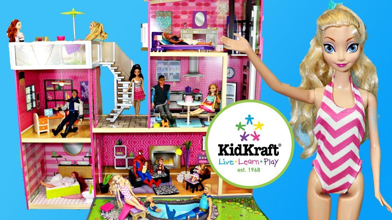 Frozen Elsa Barbie Dollhouse Kidkraft Uptown Wooden Doll House