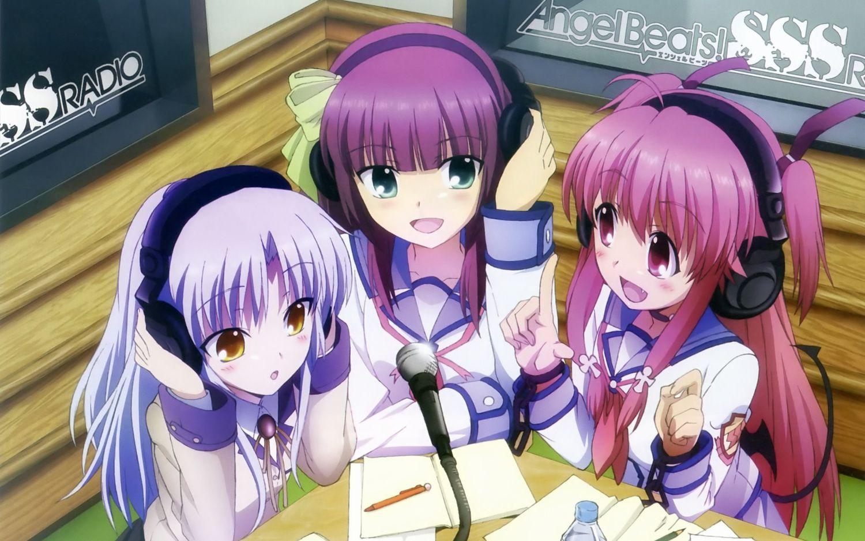 angel beats! headphones microphone nakamura yuri school