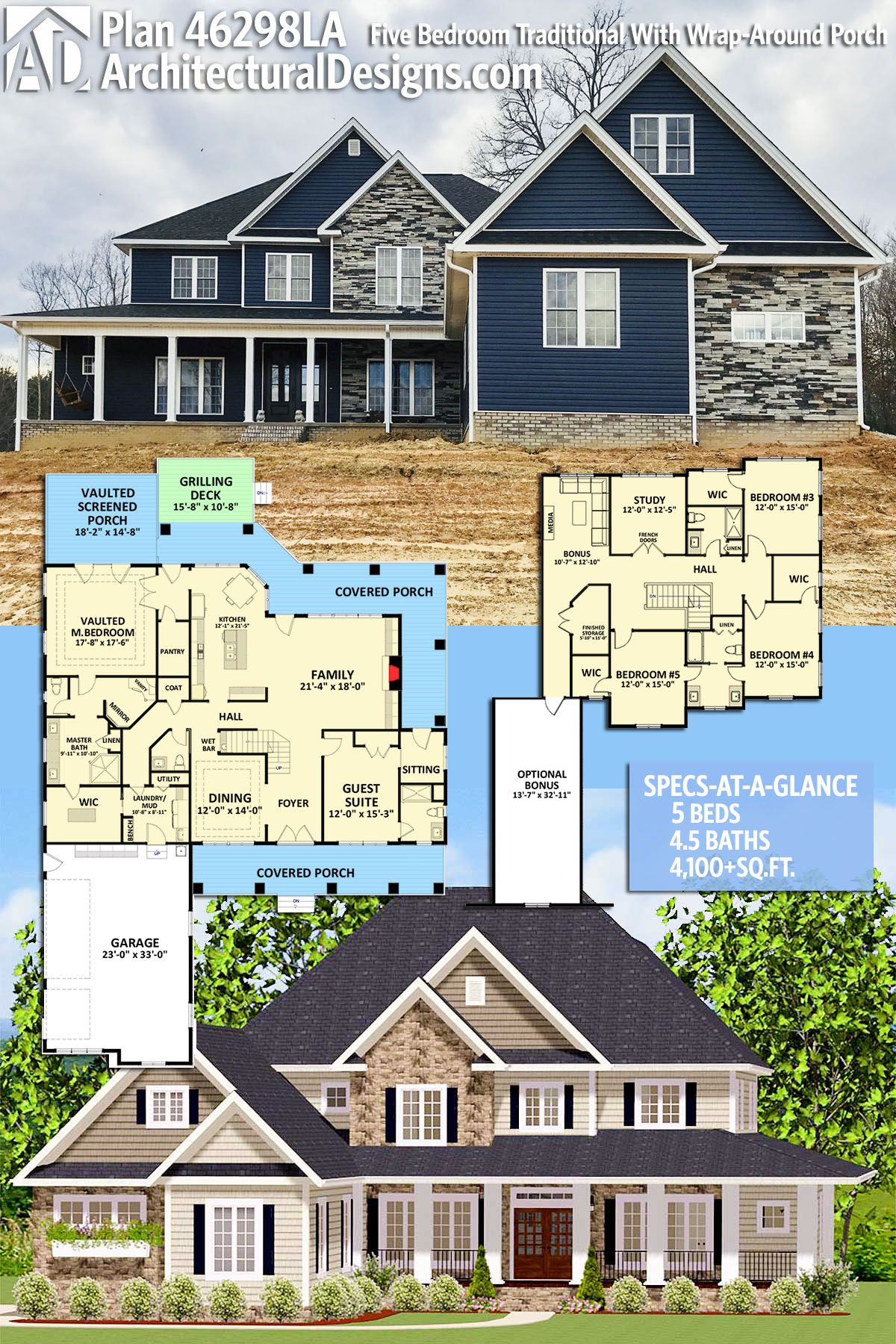 Plan 46298la Five Bedroom Traditional With Wrap Around Porch Architectural Design House Plans House Plans Dream House Plans
