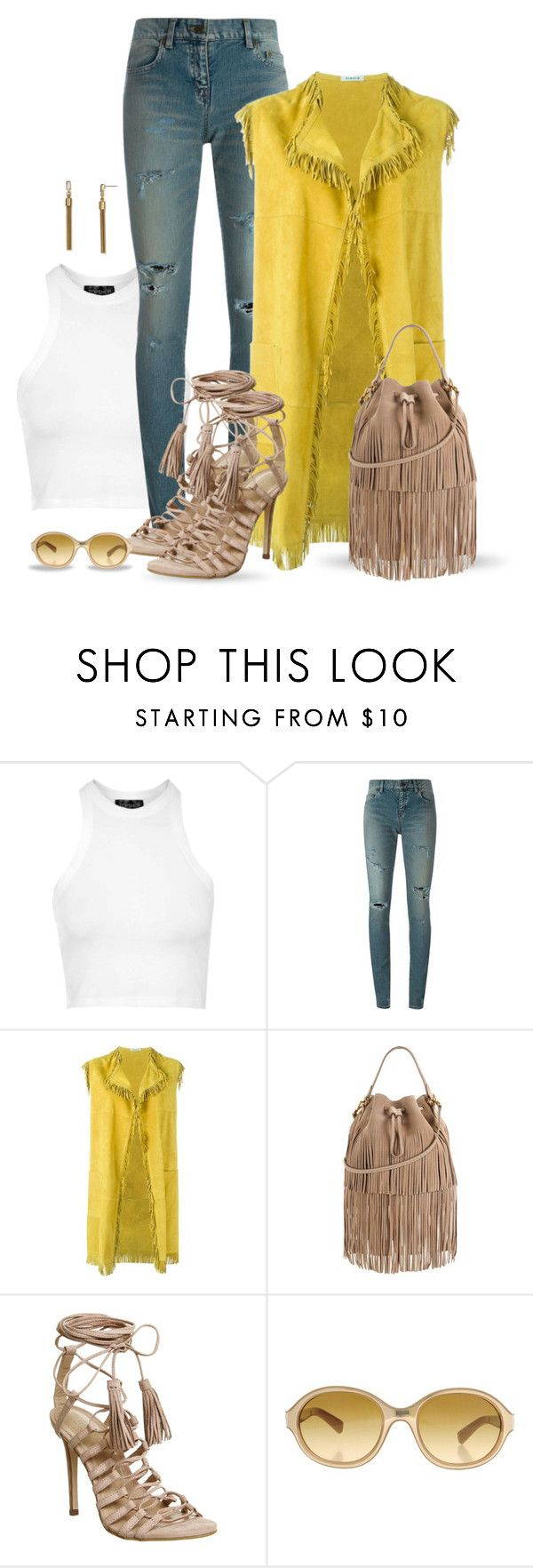"""""""Untitled #1206"""" by carla-palmisano-50 ❤ liked on Polyvore featuring Topshop, Yves Saint Laurent, P.A.R.O.S.H., Juicy Couture, Office, Giorgio Armani and Dylan Gray"""