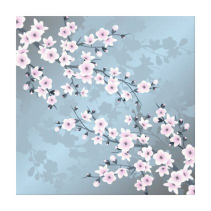 Dusky Pink Blue Cherry Blossoms Floral Canvas Print Zazzle Com In 2021 Cherry Blossom Wallpaper Cherry Blossom Blue Cherry