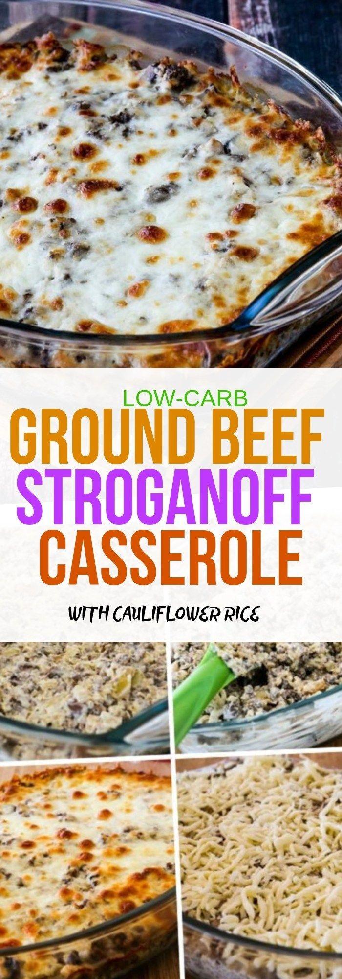 LOW-CARB GROUND BEEF STROGANOFF CASSEROLE WITH CAULIFLOWER RICE – Net Feed Daily #beefandrice