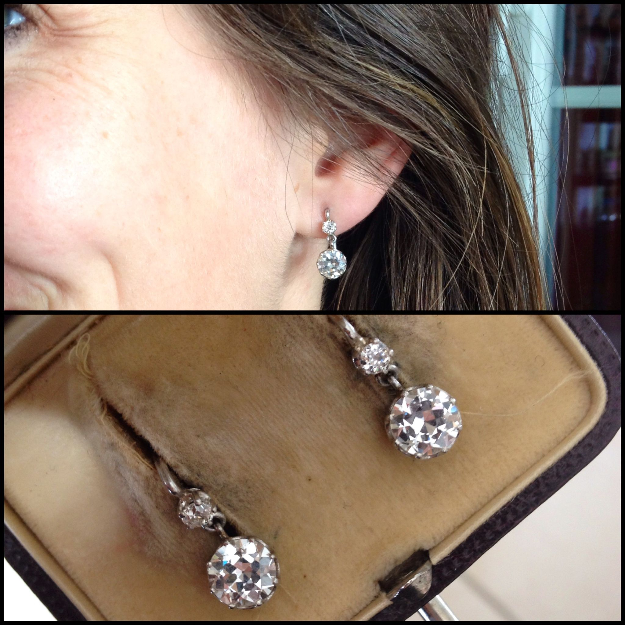 18kwg 1ct Diamond Earrings Circa 1920 Laura Fleur Goulignac