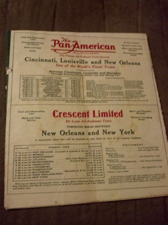 Historical Map L and N Louisville Nashville Railroad Train Schedule