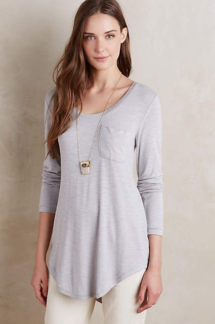 Anthropologie Pure + Good Slubbed Baseball Tee in light grey (59 - 5 star review!)