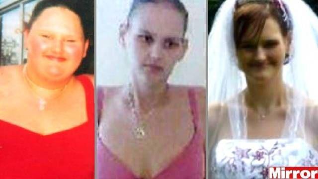 Malissa Jones em três momentos: quando era considerada a adolescente mais gorda da Grã-Bretanha; depois da cirurgia de redução de estômago, época em que sofreu de anorexia; e no dia do casamento