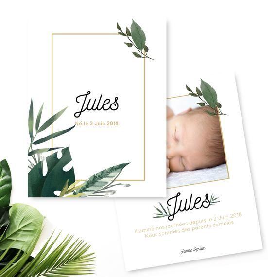Faire part naissance garçon – Faire part naissance plantes aquarelle – Faire-part naissance – Faire part fille – Faire part de naissance