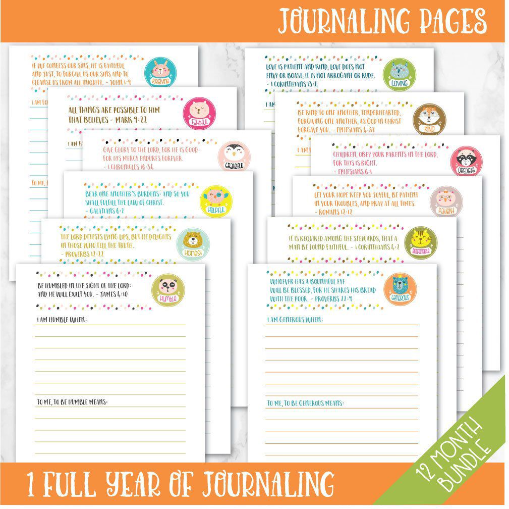 12 Virtues 12 month bundle - journaling pages - for character training