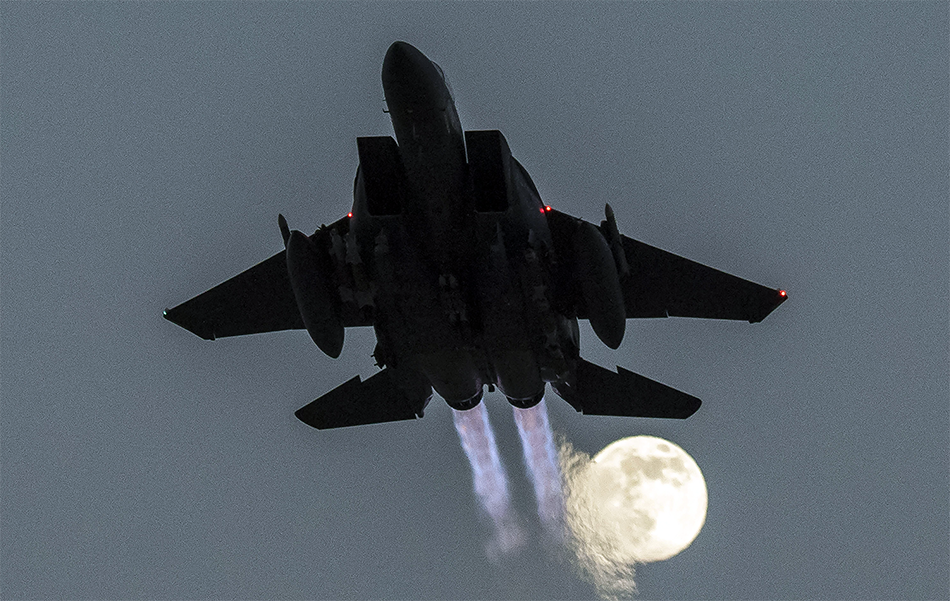Photo Eagle And The Moon Amazing photos Aircraft