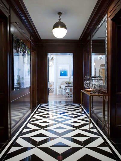 Cococozy Tile File Floored By Three Foyers Floor Tile Design Floor Design Black And White Hallway