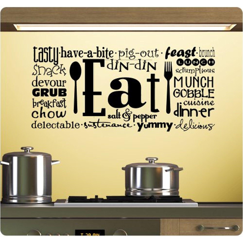 Eat Tasty Breakfast Lunch Kitchen Wall Decal Sticker Art Mural Home ...