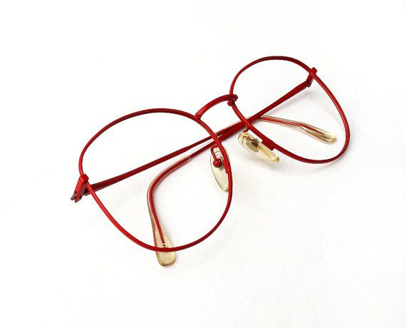 Vintage 1970s Eye Glasses, Big Red Metal Frames, Retro, Women