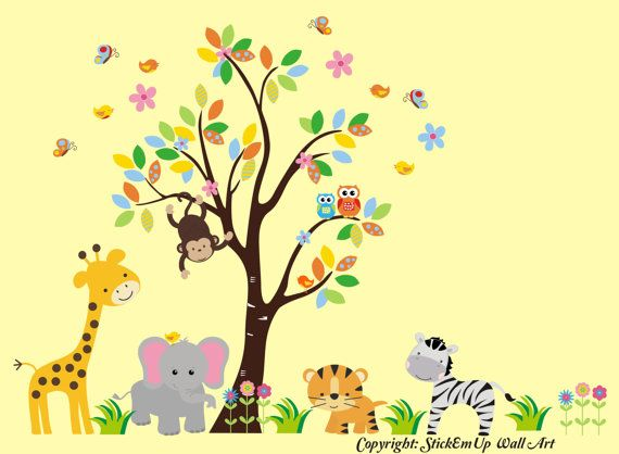 Tree Wall Decal with jungle animals - Nursery Wall Decal - Children ...