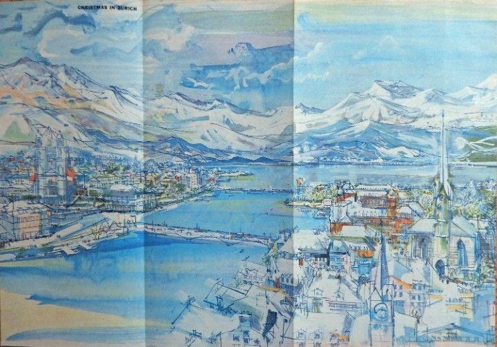 John Page  Painting  print art   Christmas in Zurich  Original Rare 1956 Esquire Magazine Art