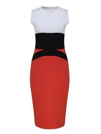 OL Stitching Package Hip Jumper Skirt Mixed Colors Dress