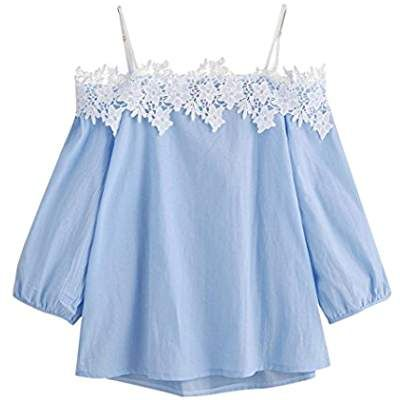 a7f2d64f8126e YANG-YI Clearance, Hot 2018 Fashion Womens Summer Off Shoulder Lace T-Shirt  Top Ladies Boat Neck Tops Tee Blouse
